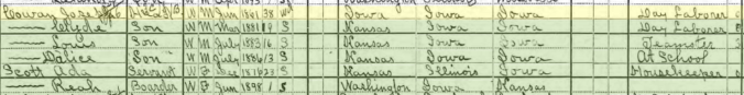 Joseph Edgar Cowan 1900 Census